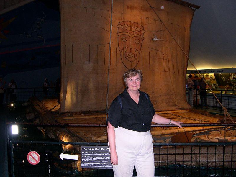 Susan with the Kon-Tiki raft