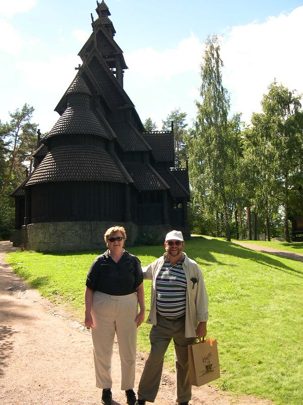 Susan and Dick at the stave church at the Folk Museum in Oslo