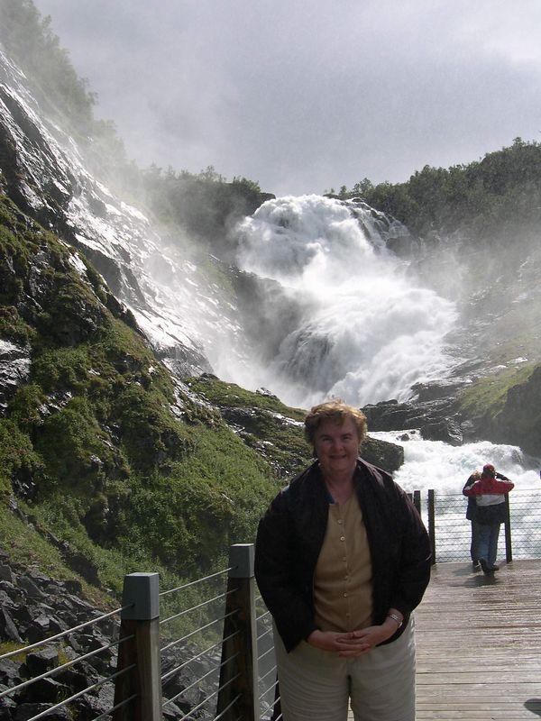 Susan at Kjofossen waterfall