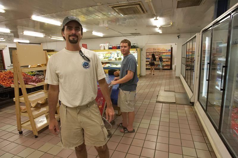 Berkley White and Dan Baldocchi shop for groceries in Bonaire