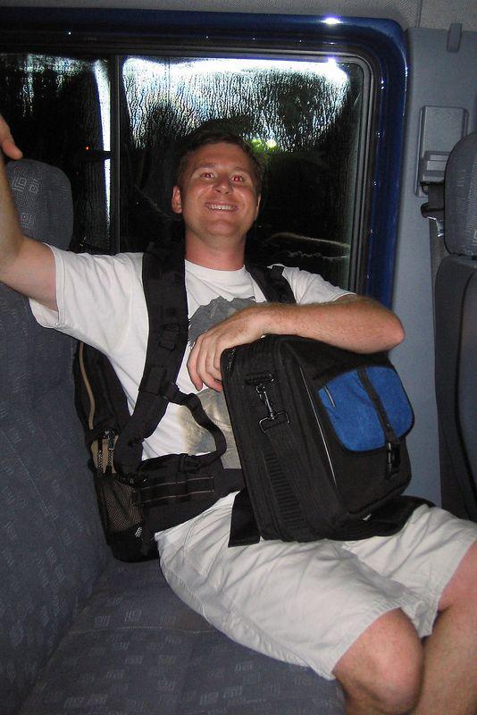 Dan Baldocchi in the hotel shuttle