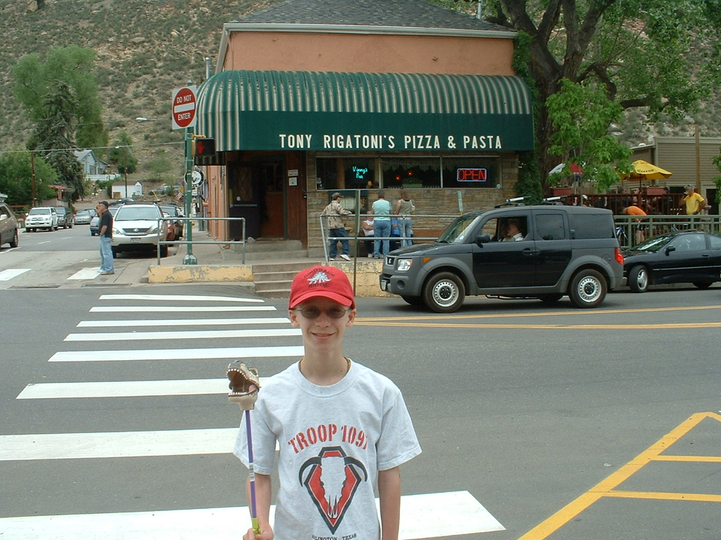 """2006 - Morrison-Red Rocks area - views from downtown Morrison - Tony getting ready to cross the street to go to """"Tony Rigatoni's Pizza"""""""
