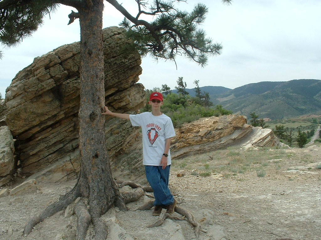 2006 - Morrison-Red Rocks area - Tony (12 yrs old) after we climbed up Dinosaur Ridge to get to the top of this little mountain - it's an awesome view from up here