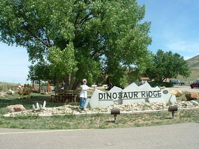 2006 - Morrison-Red Rocks area - views from the Dinosaur Ridge museum area - Tony standing by the sign