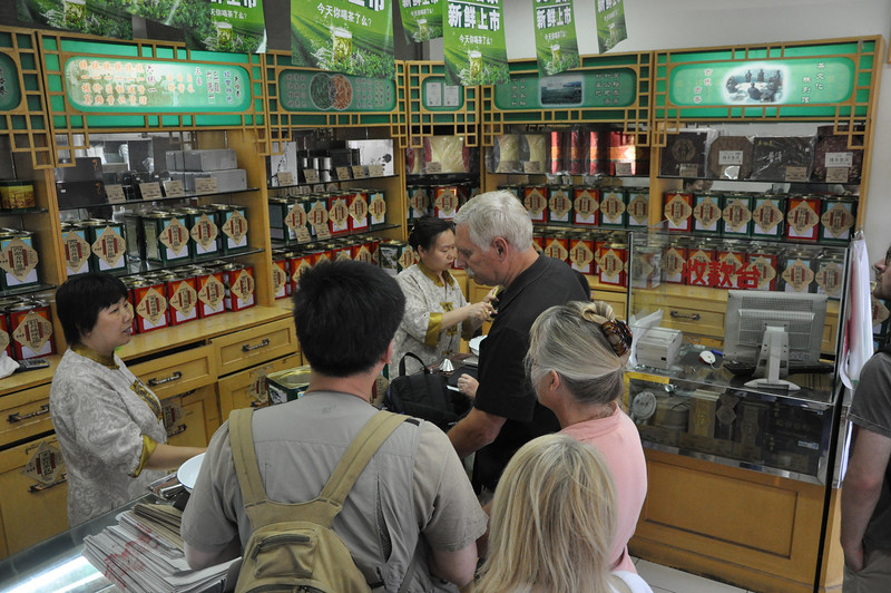 Here's Brad and Becky buying tea.