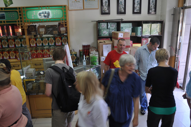 On the way to Hailu's office, just a short walk from the hotel, we stopped in to a tea shop.  Here's the group looking at teas.