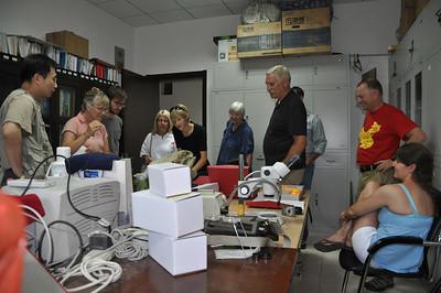 More specimen examination.  From left to right: Hailu, Becky, Jack, Diane, Brenna, Christie, Brad, Matt (hidden), Mike, and Jessie.