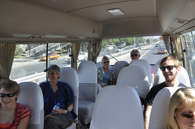 A jaunty bus ride to the site!  From left to right: Brenna, Christie, Becky, Brad, Jack, and Diane.