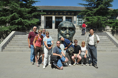 Here's the group posing with Peking Woman.  From left to right: Brad, Brenna, Matt, Becky, me, Christie, Jack, Diane, and Hailu.