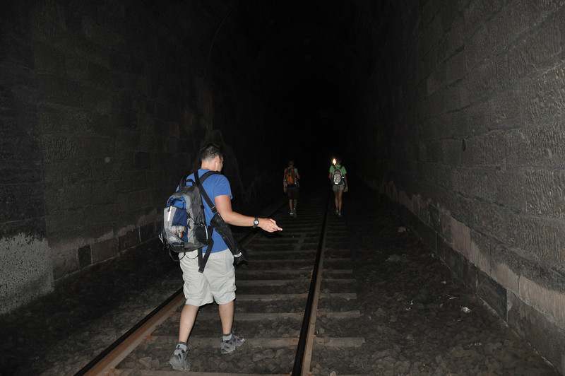 We must face the long dark of...uh, the Liujiaxia train tunnel.  Matt treads carefully.