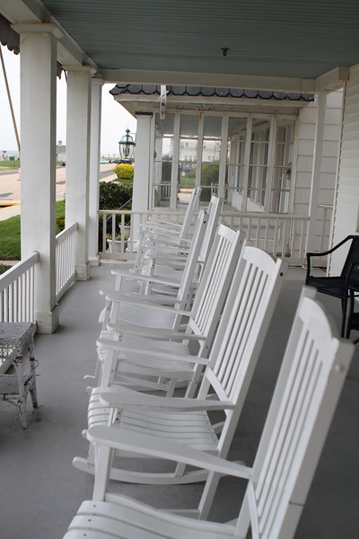 Front porch of the Shawmont - plenty of rockers in a slow rocking world