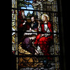 One of several stained glass windows - Saint Mary Magdalean anointing Jesus feet.