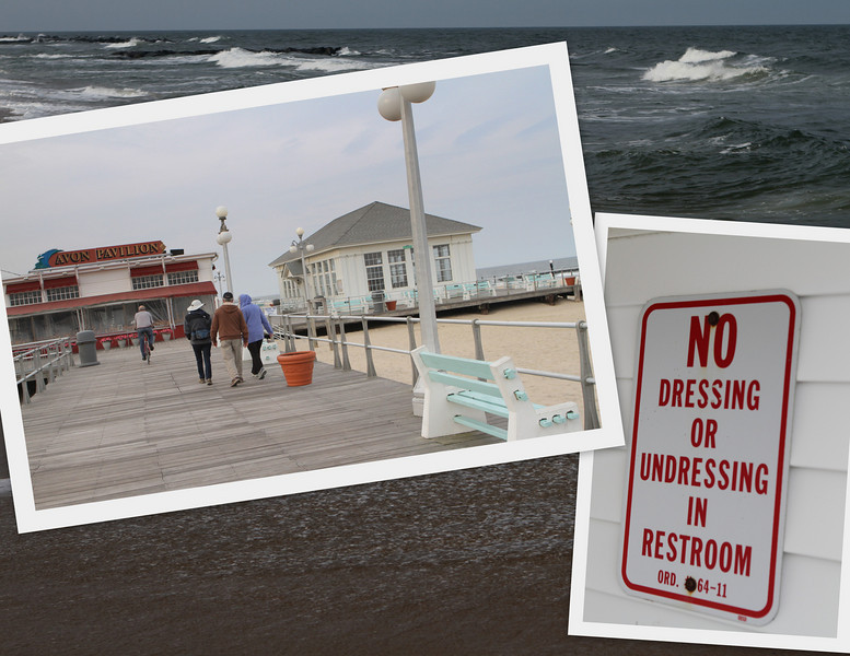 Avon Pavilion Boardwalk with a friendly reminder - get into and out of your swimsuit some other place.