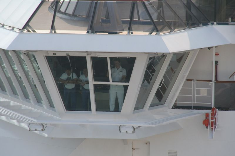 It looks like one of the officers on the bridge of the Carnival Pride was video taping the Magic