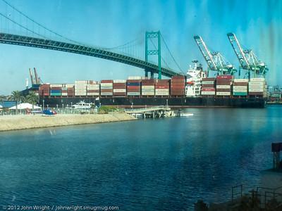 Container ship entering Long Beach Harbor