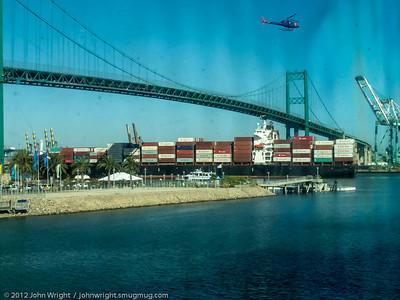 Container Ship.  Shot through ship's window
