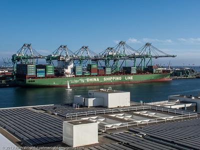 Conatainer ship unloading in LA Harbor