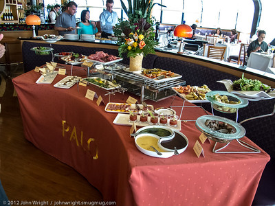 Appetizer Bar at Palo Brunch.  The little Bloody Mary's had baby shrimp in them.