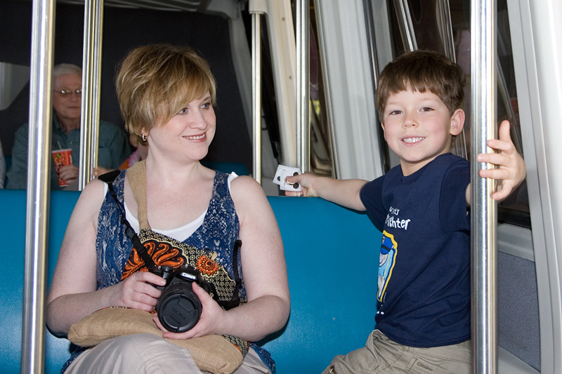 Amy and Adrik ride the monorail