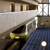 The monorail enters the hotel