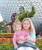 • Epcot<br /> • Sadie and Shannon sitting in front of the entrance of Spaceship Earth Pavilion