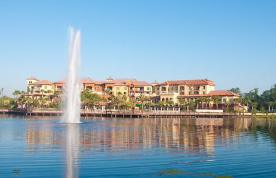 • Wyndham Bonnet Creek Resort • Water spray in the center of the lake