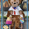 Kamryn & Sydney meet Duffy the Bear @ Epcot.