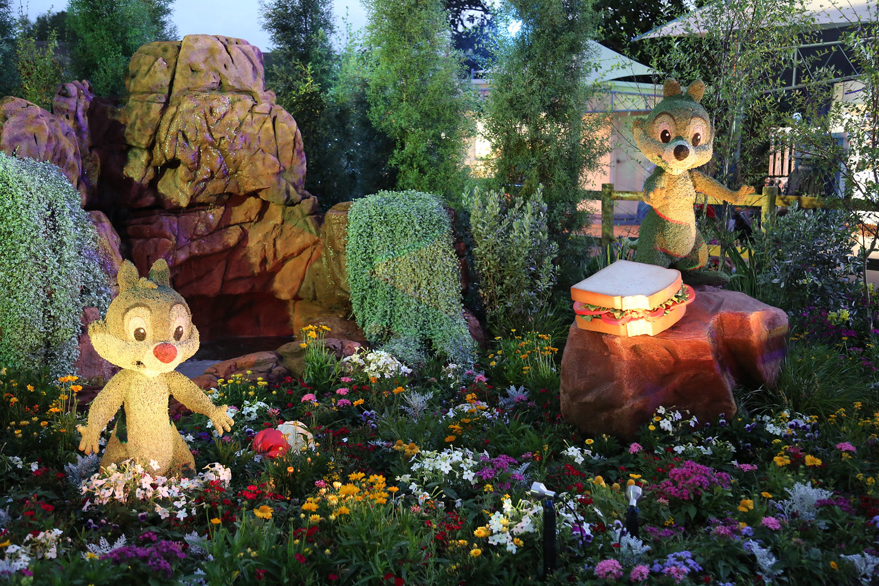 "EPCOT - ""Chip and Dale"" topiary (taken at dusk with lighting coming on)"