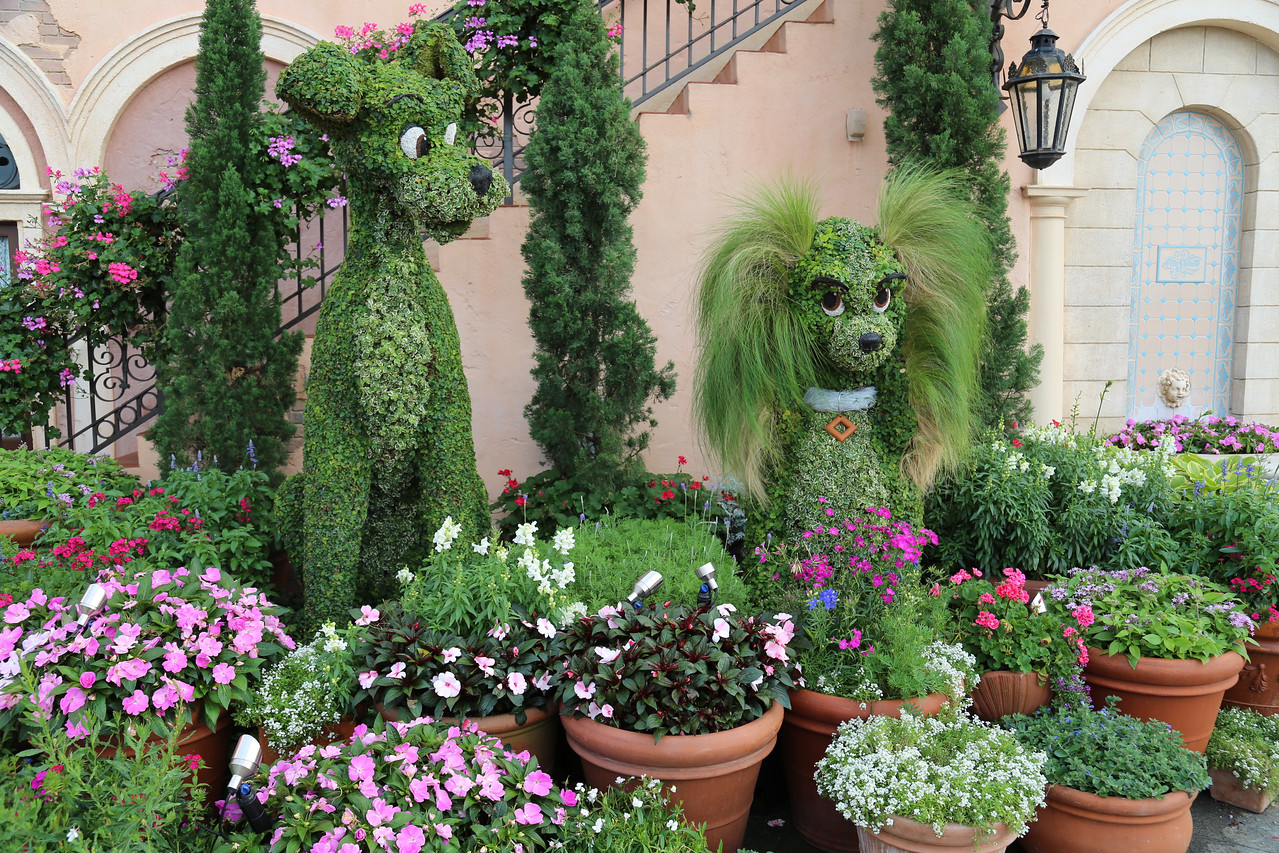"EPCOT - ""Lady and Tramp"" topiary (liked the ""hair"")"