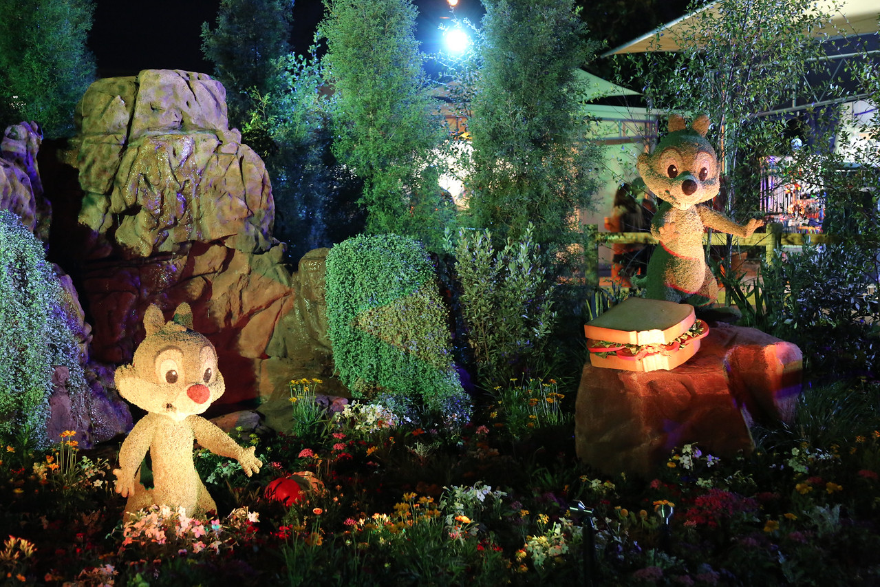 "EPCOT - ""Chip and Dale"" topiary (taken at night with lighting)"