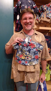 "Mike saying -- ""Will this Hawaiian shirt fit?"""