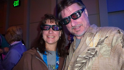 Us ready for the Star Tours ride with our 3D glasses