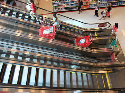 An escalator for shopping carts at two-story Target