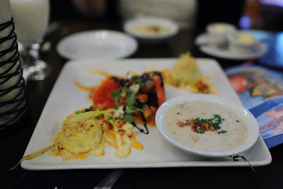 Appetizer Trio to Share - Tomato Stack, Lump Crab, and Canadian Cheddar Cheese Soup