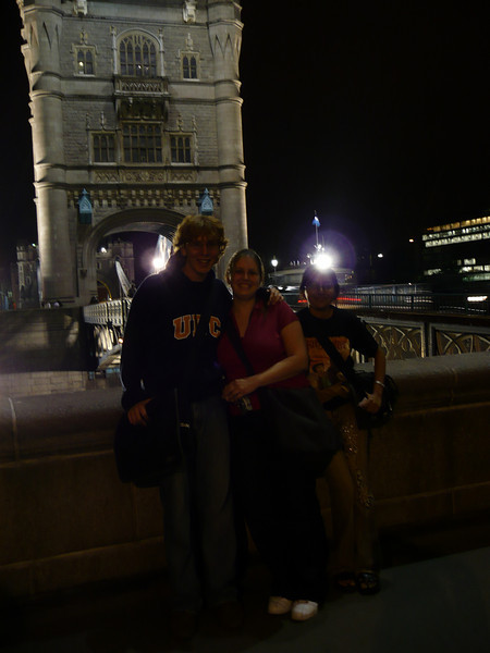 another night walk on the Tower Bridge.  Here is Graham, Jackie, and Bharvi!