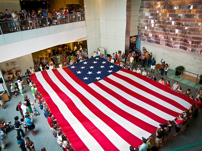 Flag the Same Size as Old Glory at the Smithsonian (American History Museum) - With the flag unfurled the crowd sang the National Anthem.  Then the crowd folded the flag back exactly as one would a normal sized flag.