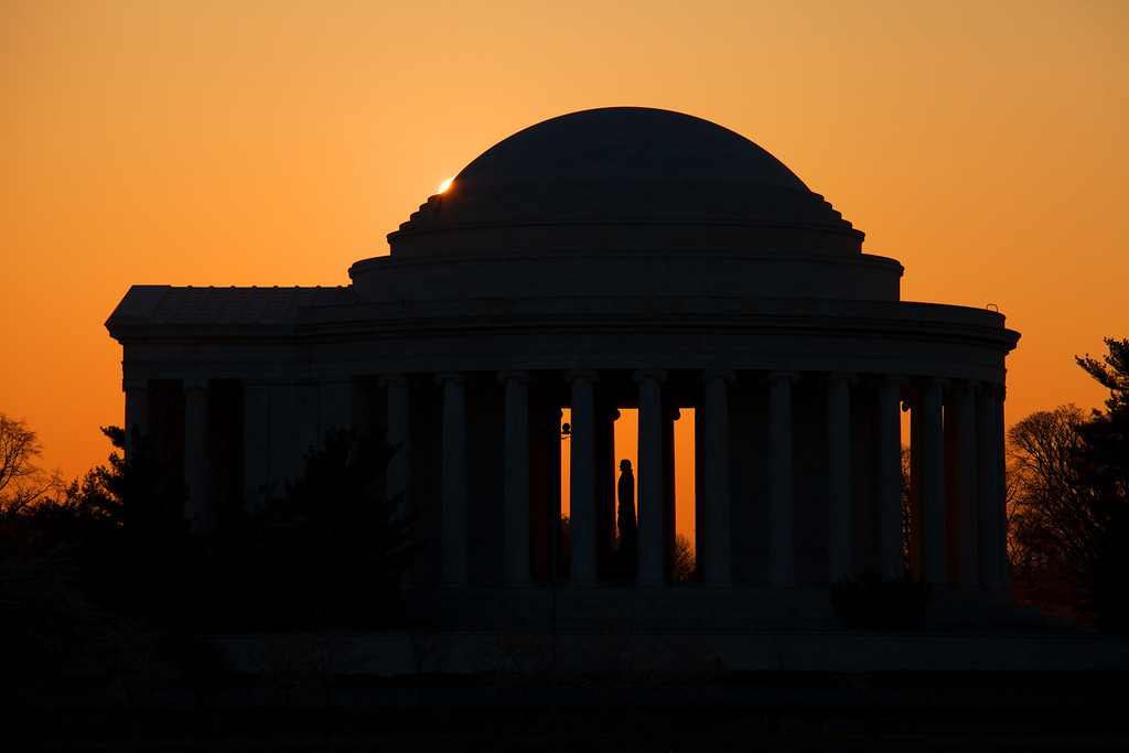 One of my favorite photos of the Thomas Jefferson Memorial at sunrise.
