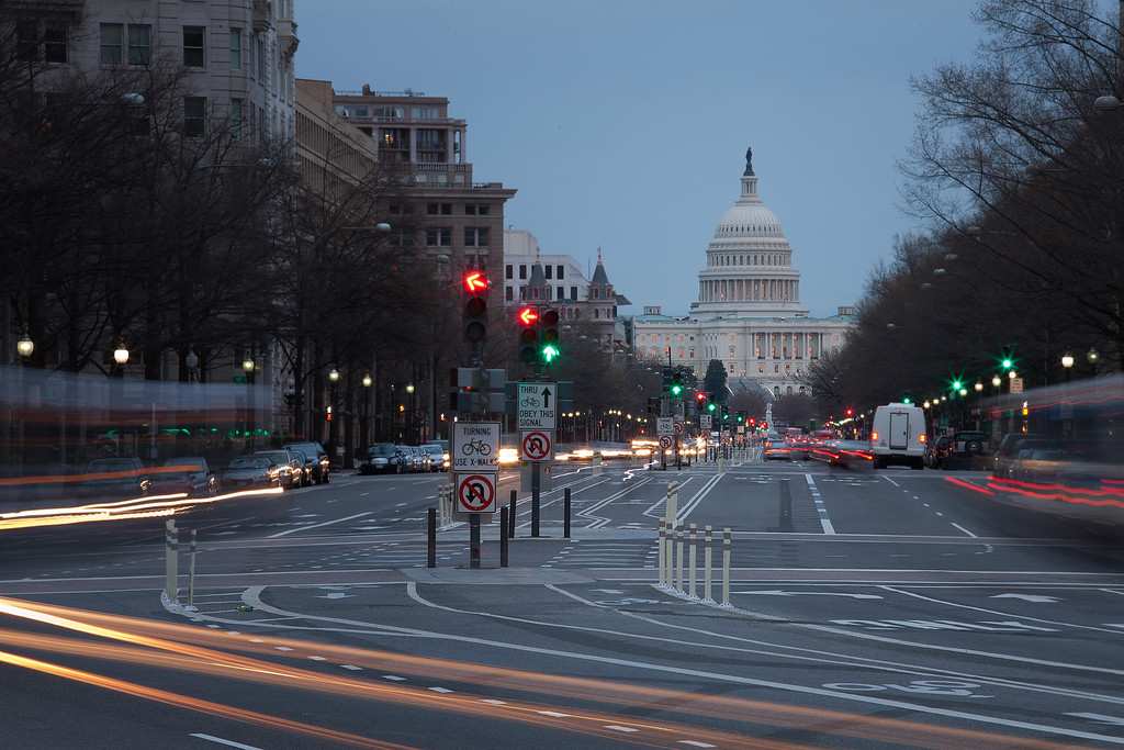 A view down Pennsylvania Avenue (just down the street from the Old Post Office).