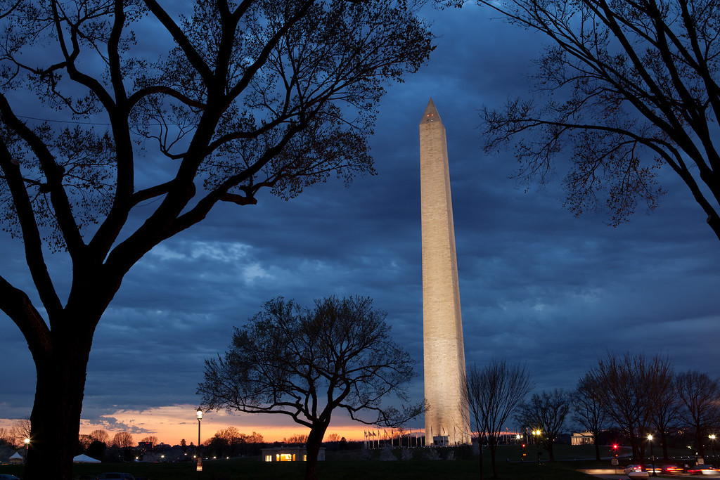 The Washington Monument moments after sunset.