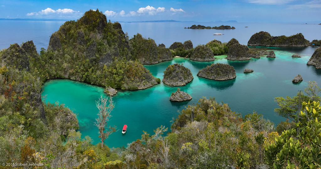 View of Raja Ampat (four kings in Indonesian); looking south from the island of Groot Fam