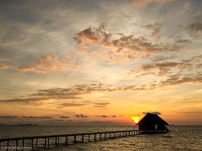 The pier on the island of Pulau Pef. (Pulau means island in Indonesian, so saying Pulau Pef island is like saying Rio Grande river.)