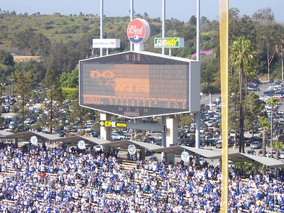 Look close, on the 50th anniversary of the Dodgers in LA, they won 5-0.  Cool, huh?