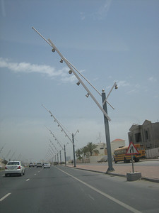 Don't know about these street lights, they look like a row of boom gates ready to drop on errant motorists.