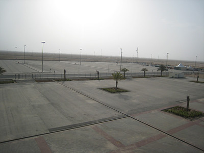 The empty carpark at Losail.