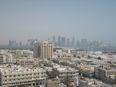 The view of Doha from the balcony of our hotel room.
