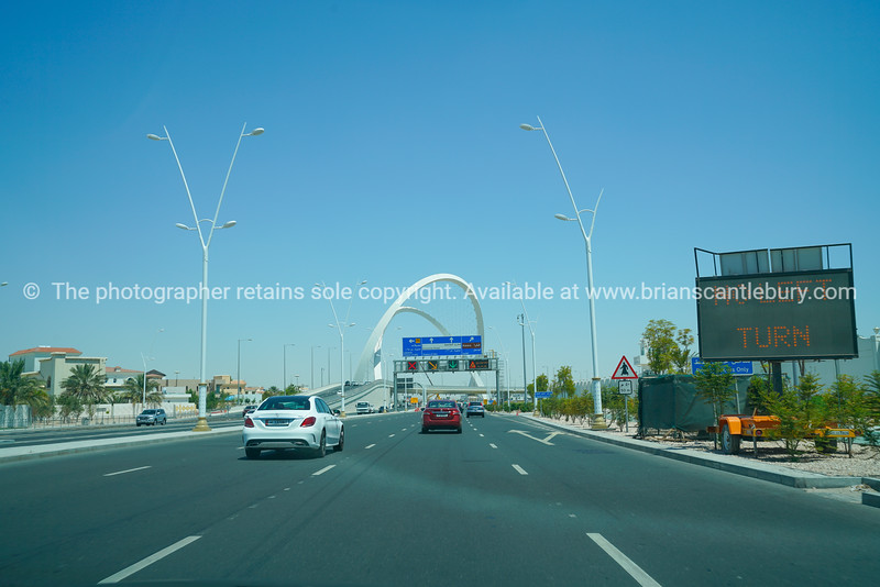 Memorial arches over Lusail Highway arch biggest monument in Qatar