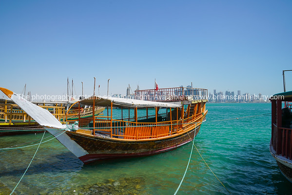 Dhow traditional style design moored along Doha Old Town waterfront