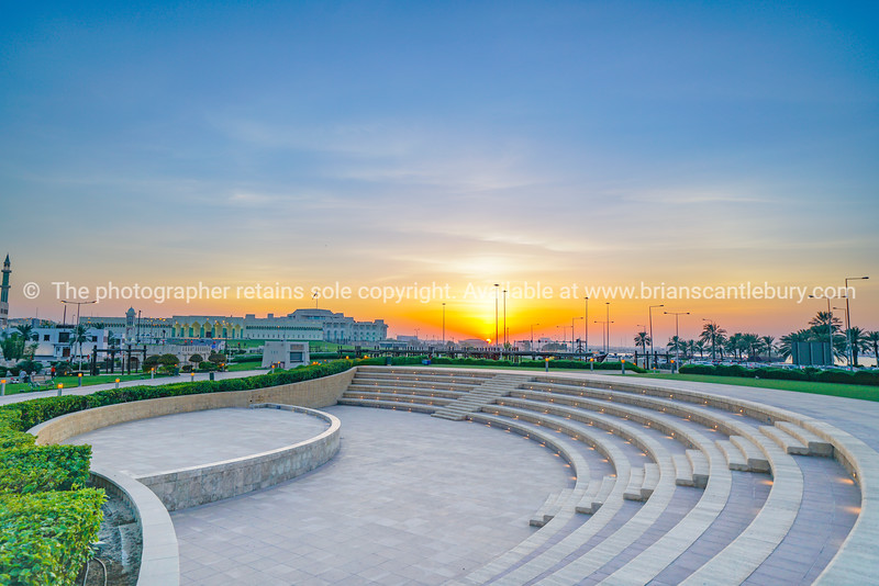 Outdoor event seating in park near The Corniche in old city of Doha.