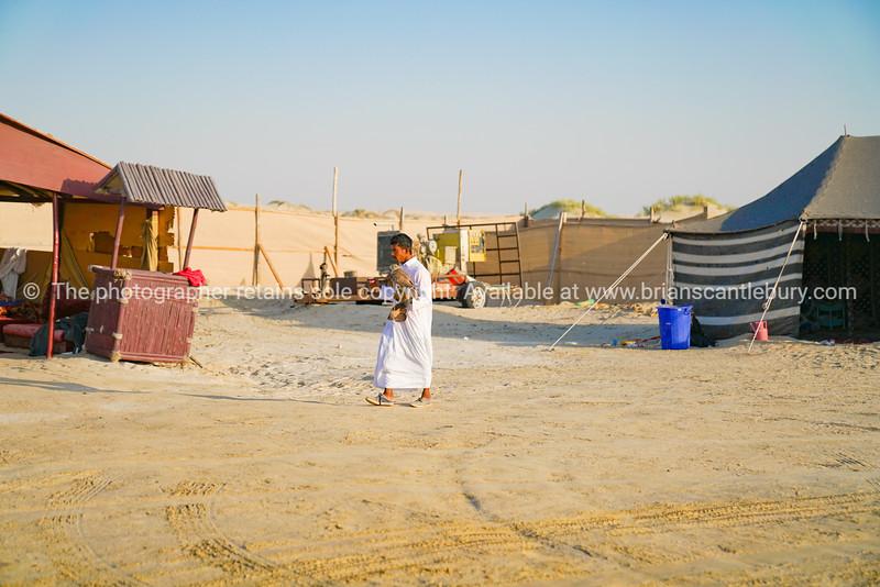 Arabic man carries falcon in desert.