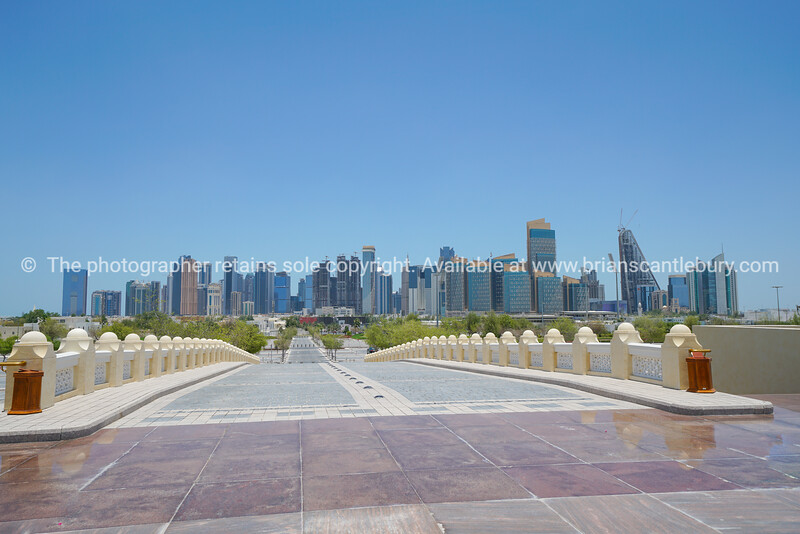 Impressive Doha Business District skyline beyond the equally impressive ramp to Grand Mosque Doha.